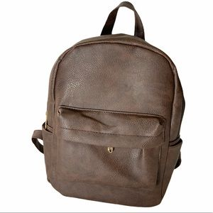 Small Mini Backpack Faux Leather Brown New